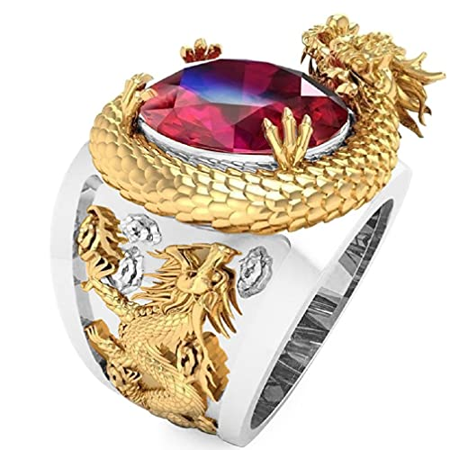 Dragon Ring for Men, Nordic Viking Dragon Head Ring Iced Out Dragon Ring Men's Punk Gold Dragon Ring Jewelry Gift Father's Day Accessories (9)