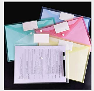 A4 Size File Sooez Clear Document Folders US LetterPlastic Envelopes with Label Pocket & Snap Button for School Home Work Office Organization, Assorted Color Plastic Envelopes Poly Envelopes (10 Pack)