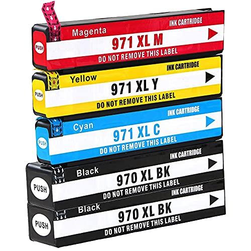 B-T Compatible Cartuchos de Tinta Reemplazo para HP 970 971 970XL 971XL Multipack para HP Officejet para X451dn X451dw X476dn MFP X476dw MFP X551dw X576dw MFP Impresoras (5 Pack)
