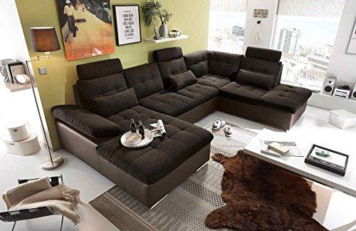 lifestyle4living Ecksofa, Sofaecke, Wohnlandschaft, Couch, U-Form, Couchgarnitur, Polsterecke, Sofacouch, Polstergarnitur, braun, Webstoff, Kunstleder