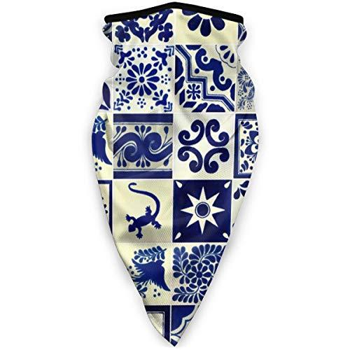 BJAMAJ Mexicaanse gestileerde Talavera Tegels Patroon Outdoor Gezicht Mond Masker Winddicht Sport Masker Ski Masker Sjaal Bandana Mannen Vrouw