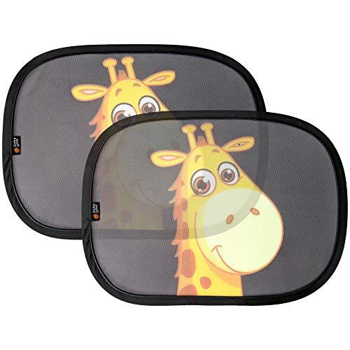 Lot de 2 pare-soleil Baby UMA pour la voiture - Rideaux avec motif de girafe pour bébés - Compatibilité universelle pour vitre arrière - Pare-soleil statique pour protéger les bébés et les enfants