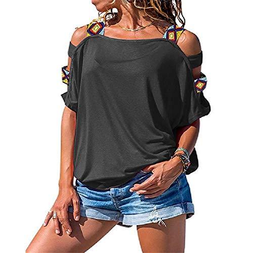 NOBRAND - Camiseta sexy de manga corta con hombros descubiertos, color sólido, para mujer Gris gris L