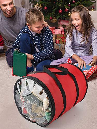 TRRAPLE Christmas Light Storage Bag, Nylon Christmas Ornaments Storage Bag Holiday Storage Organizer for Xmas Tree Lights Ornaments