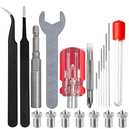 AFUNTA Kit ugello per stampante 3D, kit di pulizia e chiave e pinzette per cacciavite, compatibile con Anet A8, Creality CR-10, kit di pulizia per ugelli stampante 3D, 0,2/0,3/0,4/0,5/0,6/0,8 mm