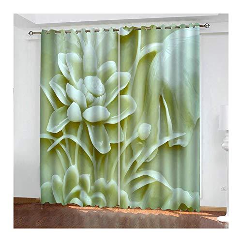 KnSam Tende Classiche Eleganti, Fiori Tenda Poliestere, Verde Chiaro, 2 Pannelli, Tende Moderne 214x138 CM