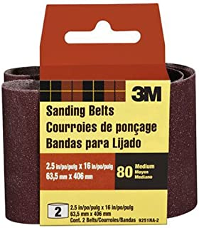 3M 9251NA-2 Heavy-Duty Power Sanding Belts, 2.5-Inch by 16-Inch, Medium Grit, 2-Pack