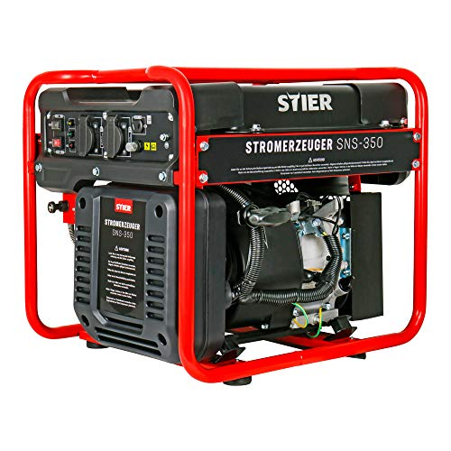 STIER Stromerzeuger SNS-350, Strom Generator, 10l Tankvolumen, 38 Kg, Stromerezuger leise mit 69 dB(A), 4-Takt Motor, Inverter Stromaggregat, mit Ölsensor, Laufzeit bis zu 8 Stunden, max. 3500 W