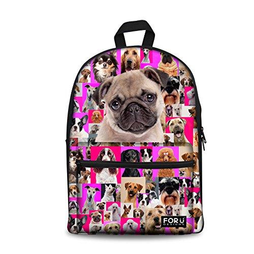 FOR U DESIGNS 15 inch Fashion Animal Pug Backpack Girls Bookbag Rucksack Pink