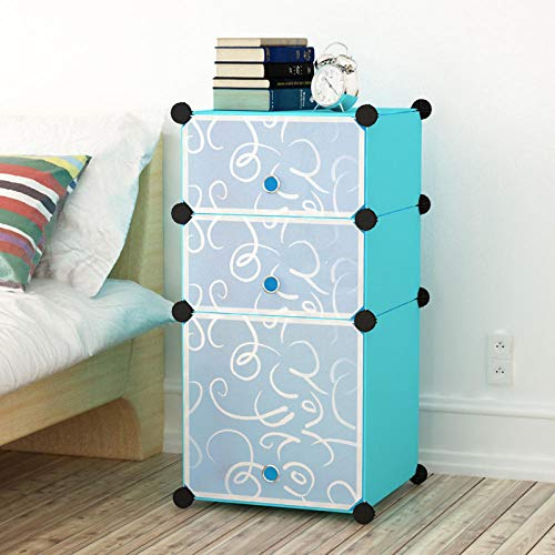 llzshoutao Portable Wardrobe Closet, Modular Storage Storage Box, Space-Saving Wardrobe, Clothes Rail, Foldable Closet, Bedroom Furniture@Three Layers of Blue