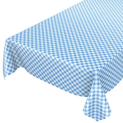 Mantel de hule encerado a cuadros lavable para mesa, toalla, azul, 140 x 140cm