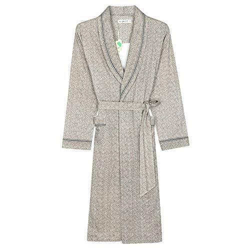 Lzcaure Albornoz para hombre de algodón suave, ligero, de longitud completa, con bolsillos, para el invierno (color: gris, talla: M)