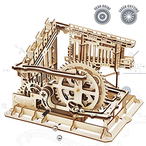 ROKR 3D Wooden Puzzle Mechanical Gears Set DIY Assembly Model Kits Wooden Craft Kits Brain Teaser Games Building Set Best Christmas Birthday Gift for Adults & Kids Age 14+(LG502-Cog Coaster)