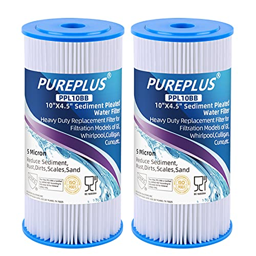 PUREPLUS 10' x 4.5' Whole House Pleated Sediment Filter for Well Water, Replacement Cartridge for GE FXHSC, Culligan R50-BBSA, Pentek R50-BB, DuPont WFHDC3001, American Plumber W50PEHD, GXWH40L, 2Pack