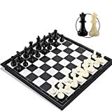 Chess Set for Adults t and Kids ,Joneytech Magnetic 9.8 inch Travel Portable Folding Chess board with 2 Extra Queen Board Game