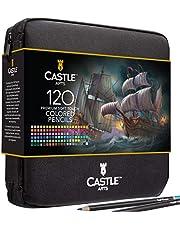 مجموعة من 120 قلم رصاص ملون بسحاب من شركة كاسل آرت سابلايز مثالية لجميع الفنانين. أقلام تلوين ناعمة ذات جودة عالية وأقلام تلوين عالية الجودة للمزج والطبقات في حقيبة سفر مريحة وقوية