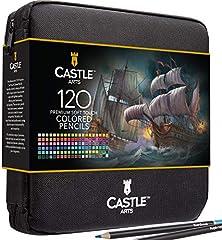 Castle Art Supplies - Set de 120 piezas de lápices de colores con cremallera para todos los artistas Colores de calidad y lápices de colores de alta calidad para mezclar y estuche de viaje