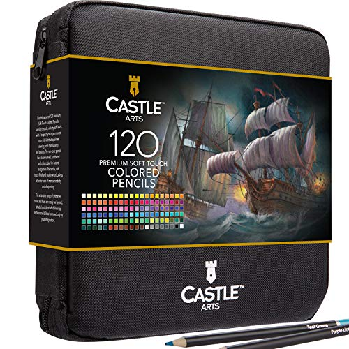 Castle Art Supplies 120 Colored Pencils ZipUp Set perfect for Adults Artists | Smooth color cores and coloring pencils for blending amp layering in a strong travel case
