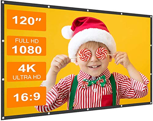 Projector Screen Sealegend 120 Inch Portable Projection Screen 16:9 HD Foldable Wrinkle-Free Movies...