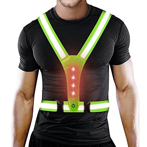 PiAEK Reflektierende Weste, LED Warnweste Reflektorband mit Hohe Sichtbarkeit, Verstellbare Reflektorweste für Laufen, Joggen, Wandern, Radfahren, Fahrrad Sicherheitsweste für Kinder Erwachsene (A)