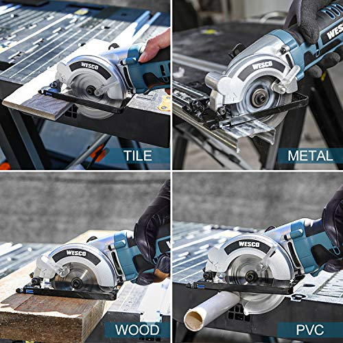 Cordless Circular Saw, WESCO 20V 3-3/8'' Mini Saw with 2.0Ah Lithium-Ion Battery and 1H Charger, MAX Cutting Depth 1-1/8