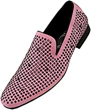 Amali Devy, Men's Slippers - Mens Loafers - Tuxedo Shoes - Mens Fashion Shoes, Velvet Embellished, Dress Shoe, Rhinestone Mens Casual Shoes, Color Pink Size 10.5