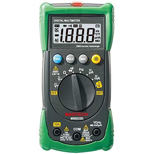 MS8233D Mastech - Multímetro digital profesional (A/V/Ohm/Hz, NCV, incluye pila)