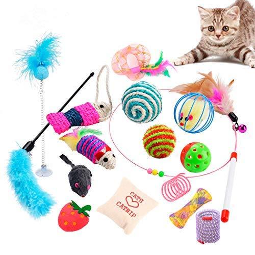 Dorakitten Katzenzubehör Katze,katzenspielzeug Katzen zubehör 16PCS Katzen spielezeug Kitten Spielzeug Kätzchen Spielzeug mit Ball Maus Spielzeug katzenangel Federspielzeug