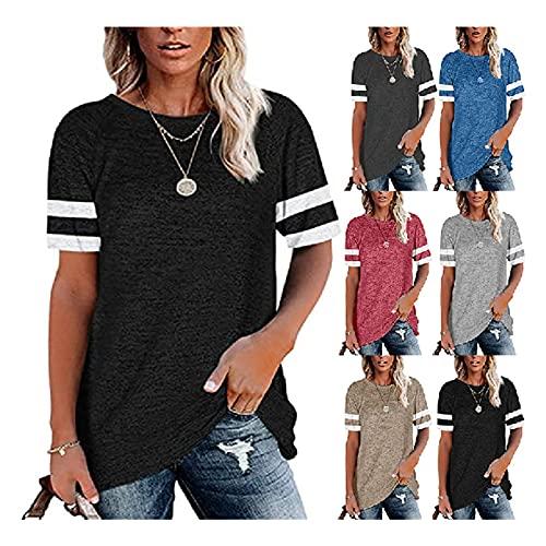 Camisa Mujer Básico Cuello Redondo Empalme Rayas Mujer Blusa Casual Generoso Clásico Personalidad Elasticidad Simplicidad Estudiante Verano Mujer Tops A-Black M