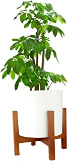 Silkoe Mid Century Plant Stand Indoor Wood Modern Planter Flower Pot Holder Brown Elegant Square Legs - Fits Up to 12 Inches Pot (Plant and Pot NOT Included)