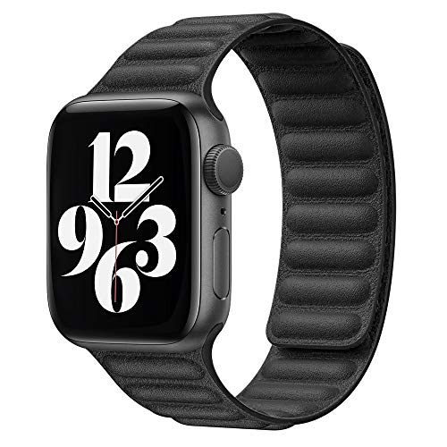Ruiboo Leather Link Band Compatible with Apple Watch Band 38mm 40mm 42mm 44mm iWatch Series 6 5 SE 4 3 2 1 Strap, Latest Magnetic Stainless Steel Adjustable Wrist Replacement, 42/44mm S/M Black