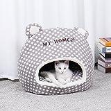 PAWZ Road Maison pour Chat intérieur avec Coussin Amovible, Niche Dôme Chat Chien Un Endroit privé 32 * 42 * 38.5cm