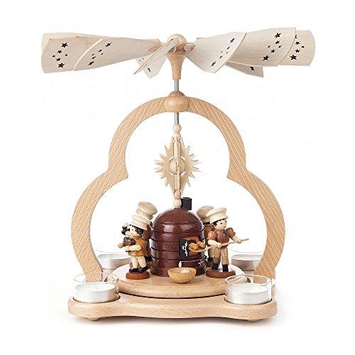 Tischpyramide Weihnachtsbäckerei natur Teelichter HxLxB 22x22x28cm NEU Pyramide Minipyramide Holzpyramide Seiffen Erzgebirge Weihnachten Wärmespiel Lichter Figur Holz Flügel Kerzen