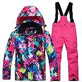 LPATTERN Traje de Esquí para Niños/Niñas Chaqueta Acolchada + Pantalones de Nieve Impermeables para Deporte de Invierno, Multicolor+Rosa roja, 12 años/2XL