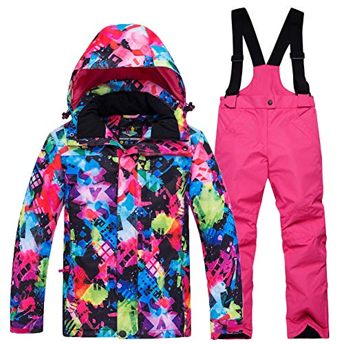 LPATTERN Kinder Jungen/Mädchen Skifahren 2 Teilig Schneeanzug Skianzug(Skijacke+ Skihose), Bunt Jacke+ Pink Trägerhose, Gr. 140/146(Herstellergröße: XL)