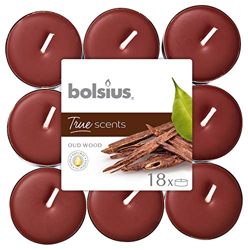 bolsius True Moods & True SCENTS theelichtjes Oud Wood 4 uur Pack 18, was, bruin, eenheidsmaat