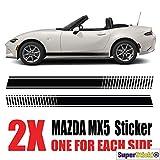 SUPERSTICKI Mazda Mx5 Seitenstreifen Auto Aufkleber Aufkleber Sticker Decal aus Hochleistungsfolie Aufkleber Autoaufkleber Tuningaufkleber Racingaufkleber Rennaufkleber Hochleistungsfolie