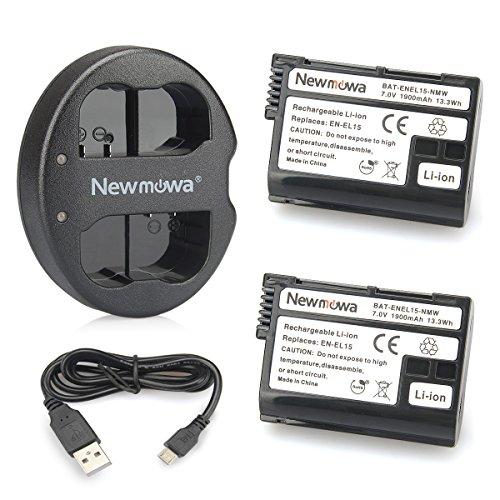Newmowa EN-EL15 Batteria (confezione da 2) e Doppio Caricatore Rapido per Nikon EN-EL15 and Nikon 1 V1, D600, D610, D800, D800E, D810, D7000, D7100