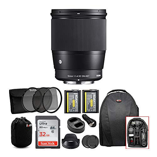 Sigma 16mm F1.4 DC DN Contemporary Lens for Sony E Mount Cameras W/ 32GB SD Card & Two Koah PRO NP-FW50 Batteries Advanced Photo and Travel Bundle