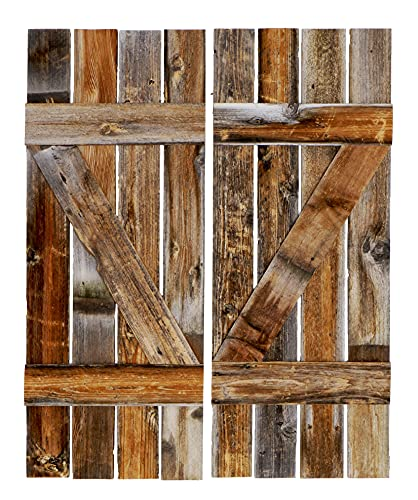 Rustic Interior Barnwood Window Shutters Set of 2. 14 Inches Wide X 36 Inches Tall. Reclaimed Barn Wood Decorative Farmhouse Vintage Style Wooden slat Wall Decor, Exterior.