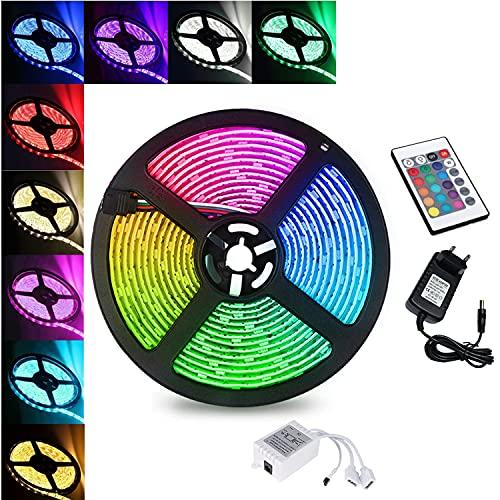 Faziango LED Strip 3m, LED Streifen mit Fernbedienung, RGB Band Lichter, IP65 Wasserdicht LED Lichterkette, RGB 5050 12V, Bunt Kette Stripes für Party Weihnachten Deko