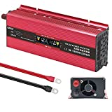 DATOUBOSS 1000W Pure Sine Wave Power Inverter 12V 110V DC to AC Car Inverter 2200W Peak Car Charger Converter with LED Display