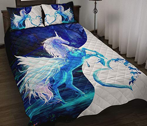 Wecco Unicorn Beautiful Quilt Twin Size - Unique 3D Design, Suitable for All Seasons with Mellow Cotton Material Comfortable and Luxurious.
