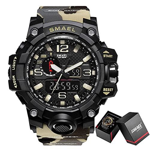 N\C Reloj de Marca de Moda para Hombre, Relojes Militares Deportivos Impermeables, 1545, Reloj de Pulsera de Lujo para Hombre, Reloj analógico de Cuarzo con Doble Pantalla