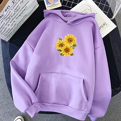 Generic Brands Hoodies Sweatshirt Frauen Harajuku Winter Langarm Sunflower Print Hoodie Koreanische Mode Streetwear Kleidung Pullover Top