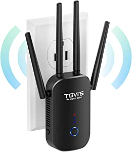 TGVi's WiFi Extender 1200Mbps,WiFi Range Extender 2.4 & 5GHz Dual Band,WiFi Extender with Ethernet Port, WiFi Extenders Signal Booster for Home, 360 Degree Wireless Network Signal Coverage Easy Set Up