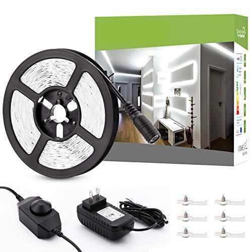 Novostella 20ft/6m Dimmable LED Light Strip Kit, 360 Units SMD 2835 LEDs,12V LED Ribbon,6000K Daylight White Under Cabinet Lighting Strips, Non-Waterproof LED Tape, UL Listed Power Supply