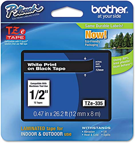 """Brother Genuine P-touch TZE-335 Label Tape, 1/2"""" (0.47"""") Standard Laminated P-touch Tape, White on black, Laminated for Indoor or Outdoor Use, Water Resistant, 26.2 Feet (8M), Single-Pack"""