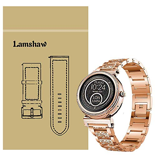 Ceston Diamante de imitación Metalica Acero Moda Correas para Reloj Inteligente Michael Kors Sofie (18mm, Oro Rosa)