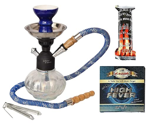 JaipurCrafts Premium Combo of 12 Inch Glass, Iron Hookah, 10 Huojia Huangdi Xiyong Factory Shisha Charcoal Disk and Premium Hookah Flavour (Without Tobacco and Nicotine)